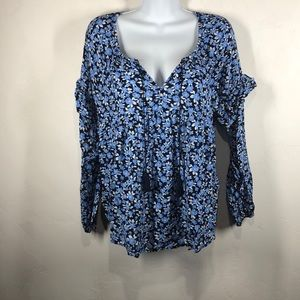 Old Navy blue floral blouse size medium